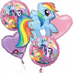 My Little Pony Foil Balloon Bouquet of 5 (with weight)