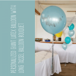 "Personalized 30"" Pearl Light Blue Latex Balloon"