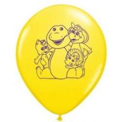 "Barney 11"" Round Yellow Latex Balloon (with helium)"