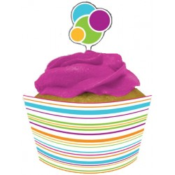 Happy Dots Cupcake Wrappers with Toppers, 12 sets