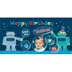 Robot Personalized Vinyl Banner with Photo