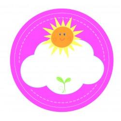 "Guest Name Sticker - Pink Sunshine 2.5"", 24pcs"