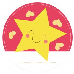 "Guest Name Sticker - Pink Star 3"", 24pcs"