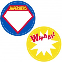 "Guest Name Sticker - Superhero 2.5"", 12pcs per style, total 24pcs"