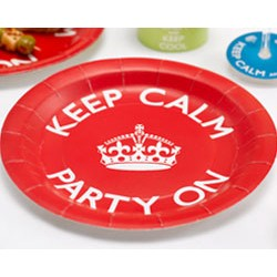 "Keep Calm and Party On 9"" Plate, 8pcs"
