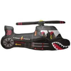 "Helicopter Black Shape Foil Balloon - 36""W"
