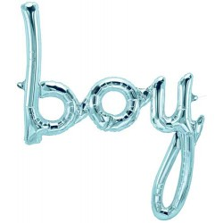 "'boy' Pastel Blue Script Foil Balloon (Air-filled) - 22"" W x 27"" H"