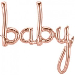 "'baby' Rose Gold Script Foil Balloon (Air-filled) - 31"" W x 34"" H"