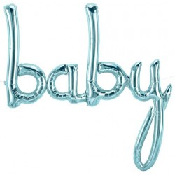 "'baby' Pastel Blue Script Foil Balloon (Air-filled) - 31"" W x 34"" H"