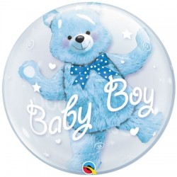 "Baby Blue Bear 24"" Double Bubble Balloon"