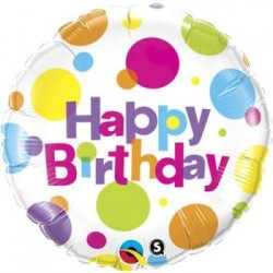 "Birthday Big Polka Dots 18"" Foil Balloon"