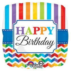 "Birthday Bright Stripes 28"" Foil Balloon"