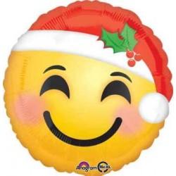 "Emoji Santa Hat 18"" Foil Balloon"