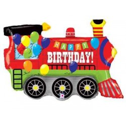 "Birthday Party Train Shape Foil Balloon - 37"" W"
