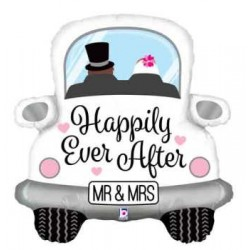 "Happily Ever After Car Shape Foil Balloon - 31""H"