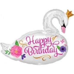 "Birthday Beautiful Swan Shape Foil Balloon - 29"" W x 22"" H"