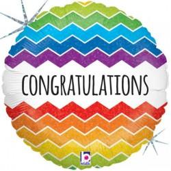"""Congratulations Chevron 18"""" Foil Balloon"""