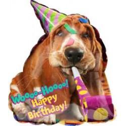 "Avanti Basset Hound Birthday Shape Foil Balloon - 22""W x 25""H"