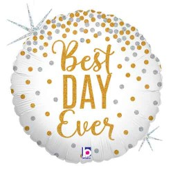 "Best Day Ever Glittering 18"" Foil Balloon"
