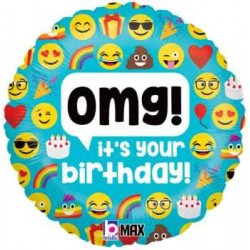 "Emoji OMG Birthday 18"" Foil Balloon"