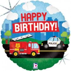"Birthday Emergency Vehicle 18"" Foil Balloon"