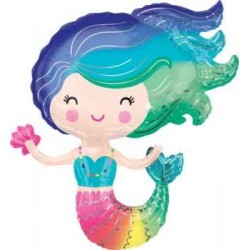 "Mermaid Colorful Shape Foil Balloon - 29""W x 30""H"