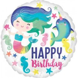 "Mermaid Colorful Birthday 18"" Foil Balloon"