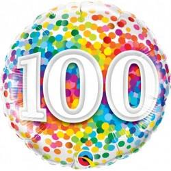 """100th Rainbow Confetti 18"""" Foil Balloon"""
