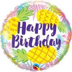 "Birthday Pastel Pineapples 18"" Foil Balloon"
