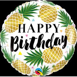 "Happy Birthday Golden Pineapples 18"" Foil Balloon"
