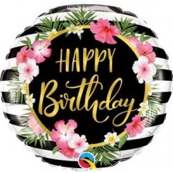 "Birthday Hibiscus Stripes 18"" Foil Balloon"