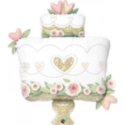 "Wedding Cake Glittering Gold Foil Balloon - 41""W"