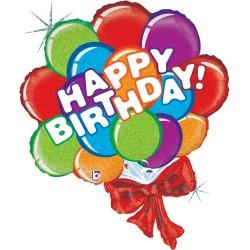 "Birthday Balloon Bow Foil Balloon - 37""H"