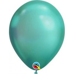 "11"" Round Chrome Green Latex Balloon"