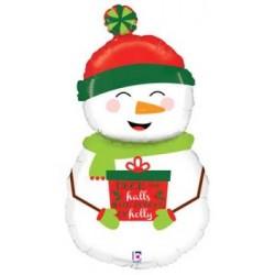 "Holiday Snowman Foil Balloon - 40""H"