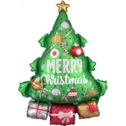"""Christmas Tree With Garland Foil Balloon 25""""W x 34""""H"""