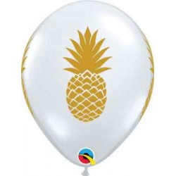 "11"" Round Gold Pineapple Clear Latex Balloon (with helium)"