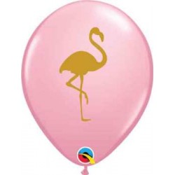 "11"" Round Gold Flamingo Pink Latex Balloon (with helium)"
