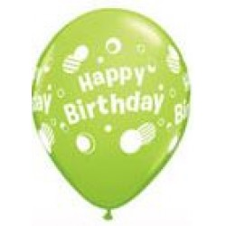 "11"" Round Happy Birthday Polka Dots Lime Green Latex Balloon (with helium)"