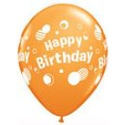 "11"" Round Happy Birthday Polka Dots Orange Latex Balloon (with helium)"