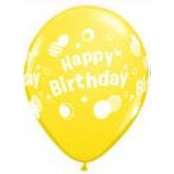 "11"" Round Happy Birthday Polka Dots Yellow Latex Balloon (with helium)"