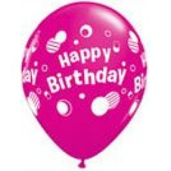 "11"" Round Happy Birthday Polka Dots Magenta Latex Balloon (with helium)"