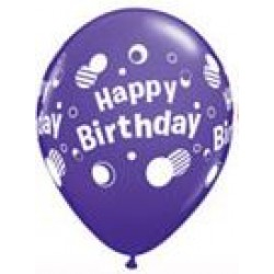 "11"" Round Happy Birthday Polka Dots Purple Latex Balloon (with helium)"