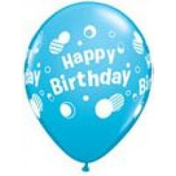 "11"" Round Happy Birthday Polka Dots Pale Blue Latex Balloon (with helium)"