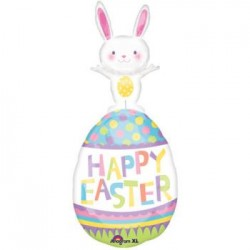 "Easter Bunny On Egg Foil Balloon - 37""H"