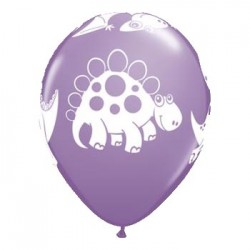 """11"""" Round Lilac Cute Cuddly Dinosaurs Latex Balloon (with helium)"""