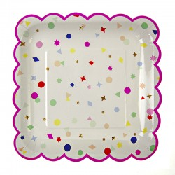 """Toot Sweet Charms Scallop Edge 9"""" Paper Plate, 8pcs"""
