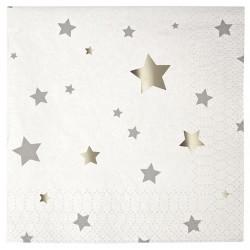 """Toot Sweet Stars: Silver 5"""" x 5"""" Napkin, 16pcs"""