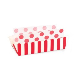 Paper Baking Trays in Candy Cane Red with Liners, 8 sets