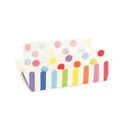 Paper Baking Trays in Rainbow Stripes with Liners, 8 sets